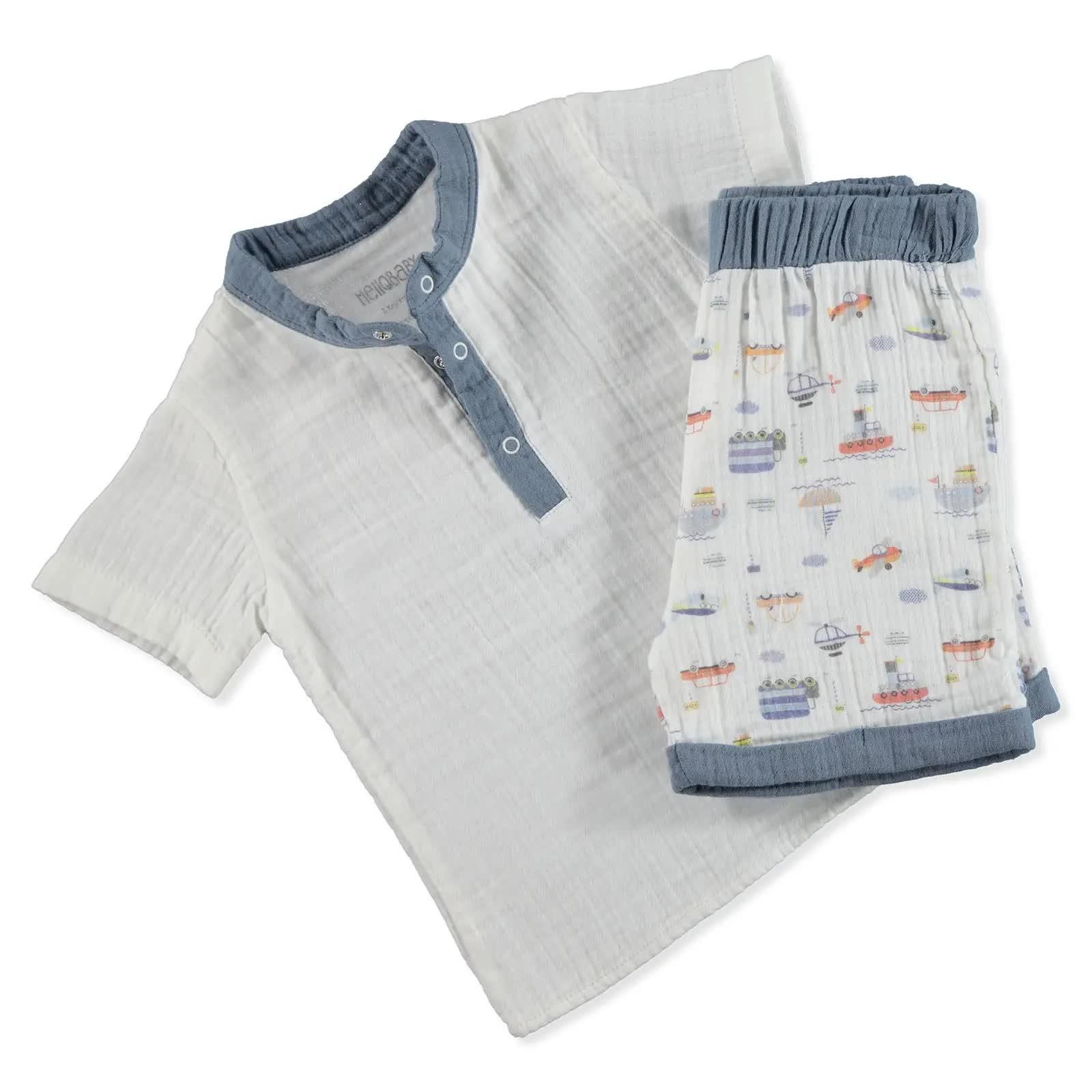 Yaz Erkek Bebek Desenli Müslin Gömlek Şort