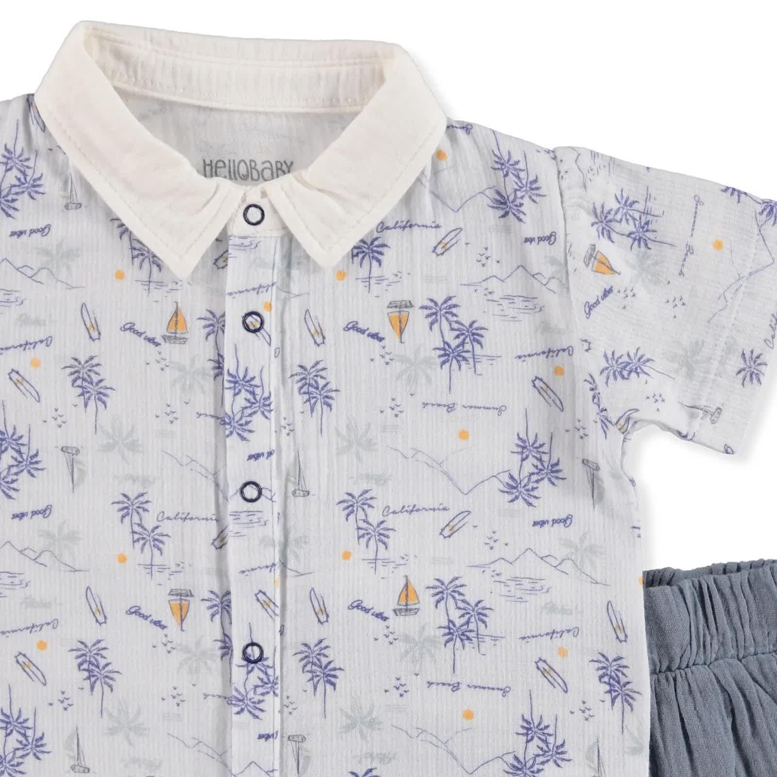 Yaz Erkek Bebek Desenli Müslin Gömlek-Şort